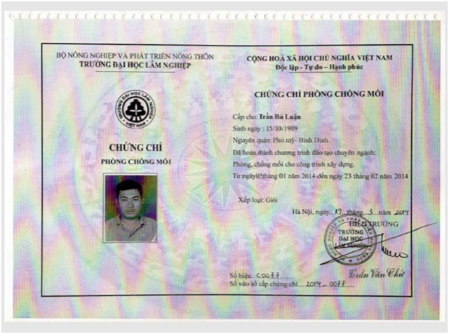 giấy chứng nhận chuyên môn, kỹ thuật, năng lực của công ty Hạnh Long 2
